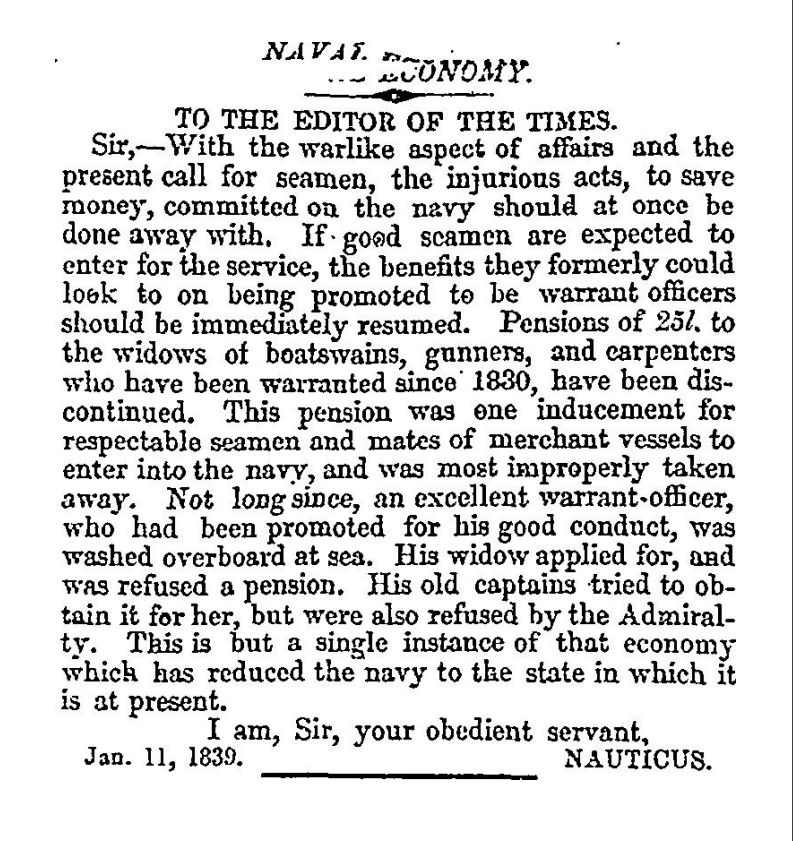 "Nauticus, ""Naval Economy"", Times (12 January 1839), p.5. Letter supplied courtesy of The Times."
