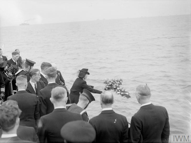 CAPTAIN WALKER BURIED AT SEA. 12 JULY 1944, ON BOARD HMS HESPERUS, IN LIVERPOOL BAY. AFTER THE SERVICE AT LIVERPOOL CATHEDRAL, THE BODY OF CAPTAIN F J WALKER, CB, DSO, RN, ACE U-BOAT FIGHTER, WAS COMMITTED TO THE SEA AT THE ENTRANCE TO THE MERSEY. © IWM (A 24637)